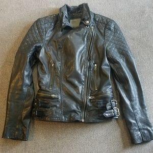Black Genuine Leather Jacket US2/UK6